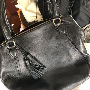 J Crew black leather Brompton mini hobo